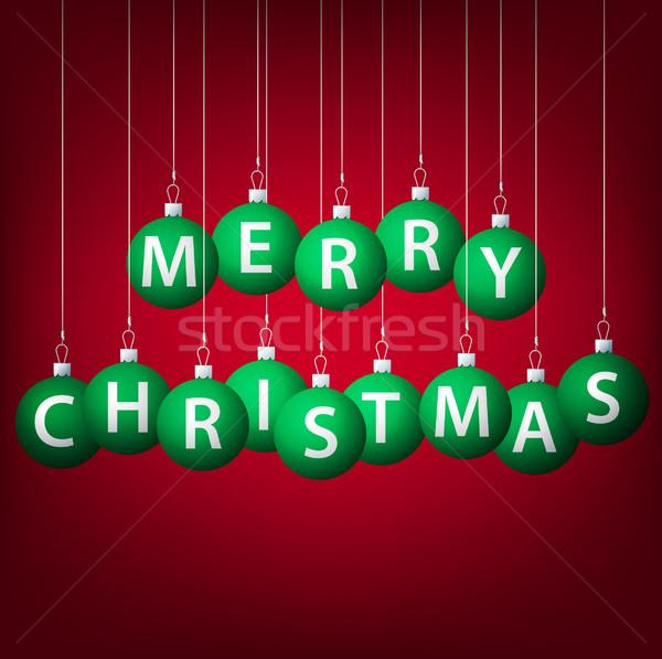 Vidám karácsony akasztás csecsebecse kártya vektor Stock fotó © piccola