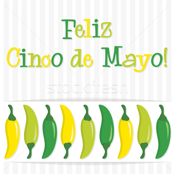'Feliz Cinco de Mayo' (Happy 5th of May) chilli card in vector f Stock photo © piccola