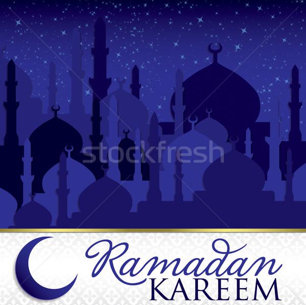 'Ramadan Kareem' (Generous Ramadan) mosque card in vector format Stock photo © piccola