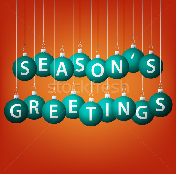 Season's Greetings hanging bauble card in vector format. Stock photo © piccola