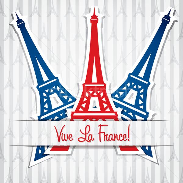Eiffel-torony matrica Bastille nap kártya vektor Stock fotó © piccola