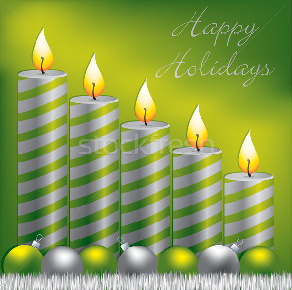Happy Holidays candle, bauble and tinsel card in vector format. Stock photo © piccola