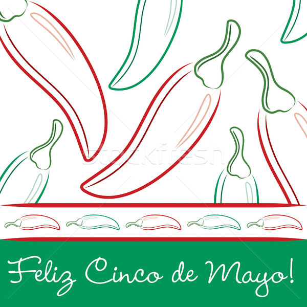 Cinco de Mayo chili pepper greeting cards in vector format. Stock photo © piccola