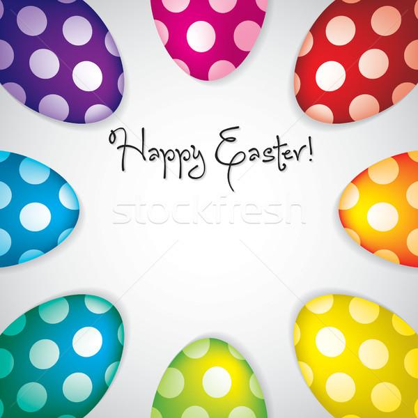 Kör húsvéti tojások keret vektor formátum húsvét Stock fotó © piccola