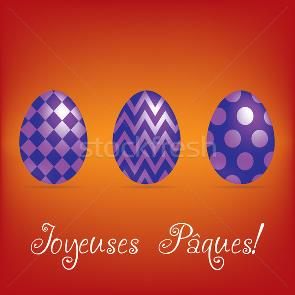 French 'Happy Easter' bright egg card in vector format. Stock photo © piccola