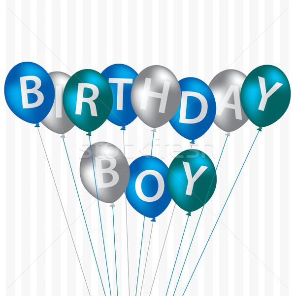 Doğum günü erkek mavi balon kart vektör Stok fotoğraf © piccola