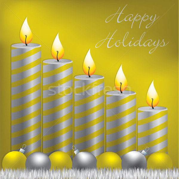 Stock photo: Happy Holidays candle, bauble and tinsel card in vector format.