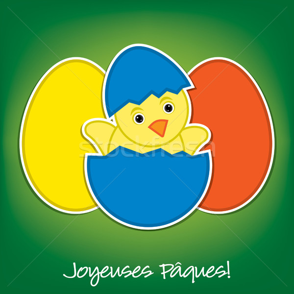 Stock fotó: Francia · baba · csirke · tojások · húsvét · kártya