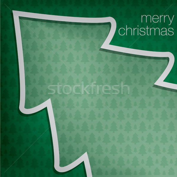 Cut out 'Merry Christmas' tree card in vector format. Stock photo © piccola
