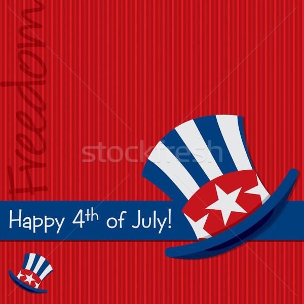 Patriótico tío sombrero cuarto tarjeta vector Foto stock © piccola