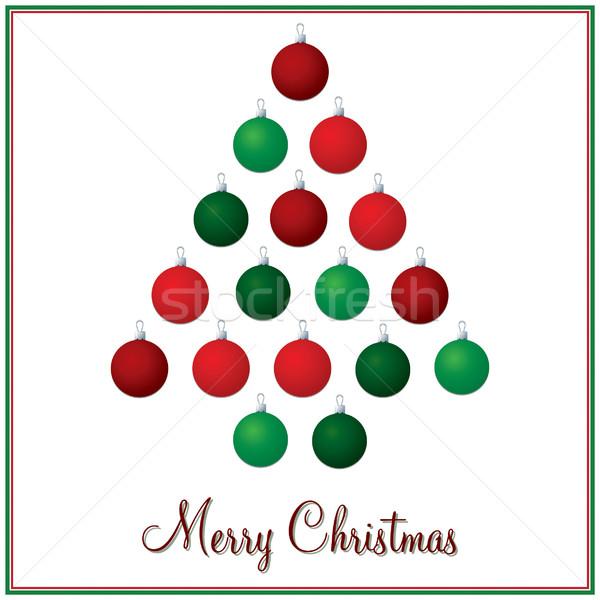 Piros zöld karácsonyfa csecsebecse kártya vektor Stock fotó © piccola