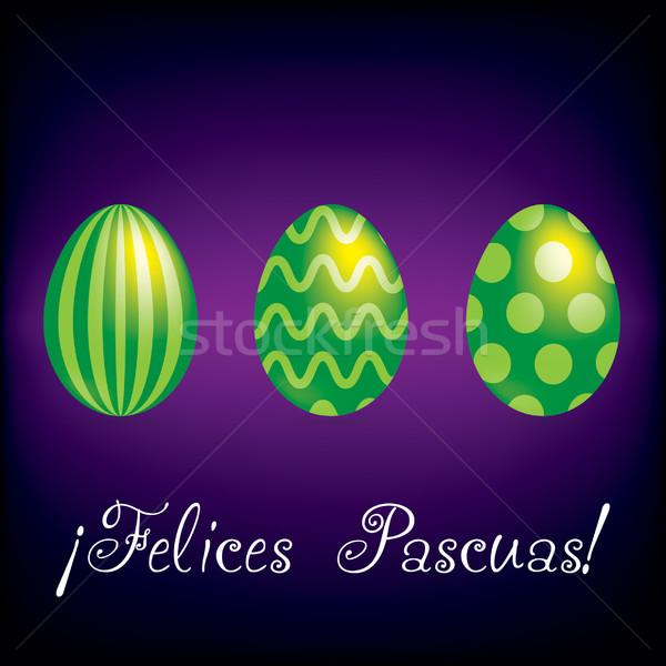 Spaans vrolijk pasen heldere ei kaart vector Stockfoto © piccola