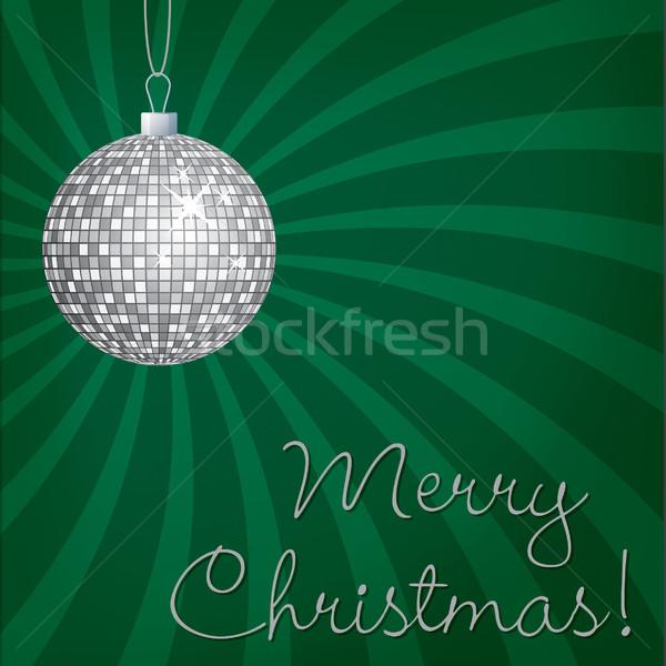 Silver mirror ball Merry Christmas card in vector format. Stock photo © piccola