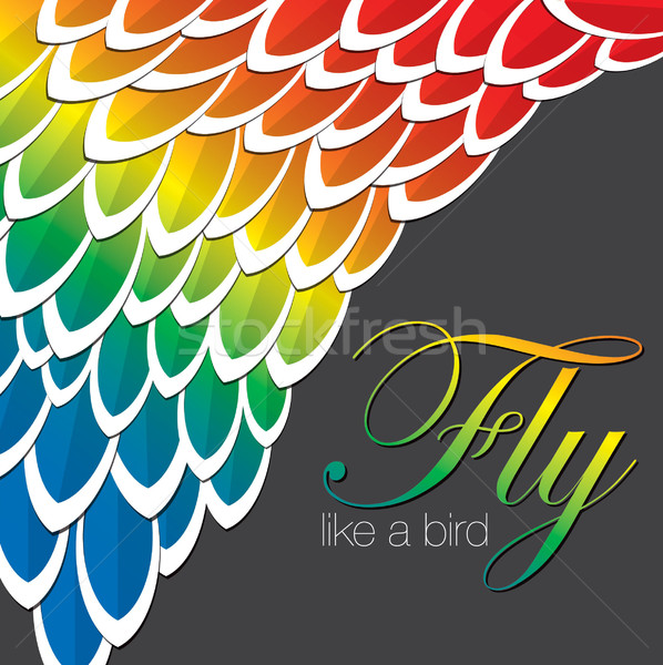 Macaw inspired abstract feather background in vector format. Stock photo © piccola