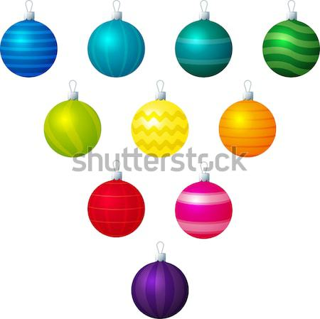 A vector illustration of different patterned Christmas baubles. Stock photo © piccola