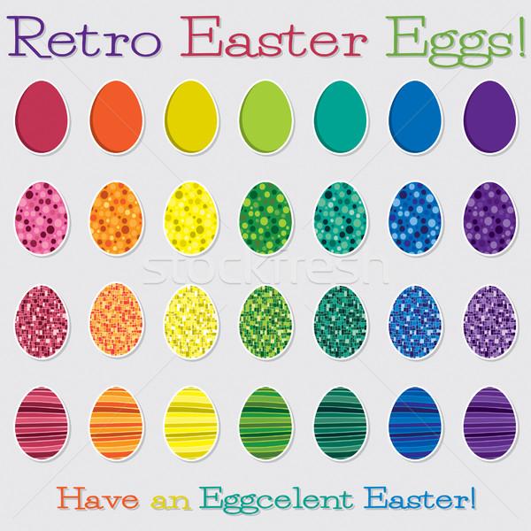Bright retro Happy Easter egg set in vector format. Stock photo © piccola
