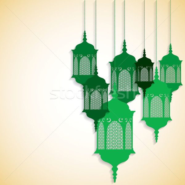 Arabic/ Moroccan lantern card in vector format. Stock photo © piccola