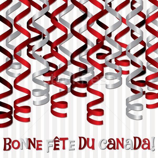 Boldog Kanada nap szalag kártya vektor Stock fotó © piccola