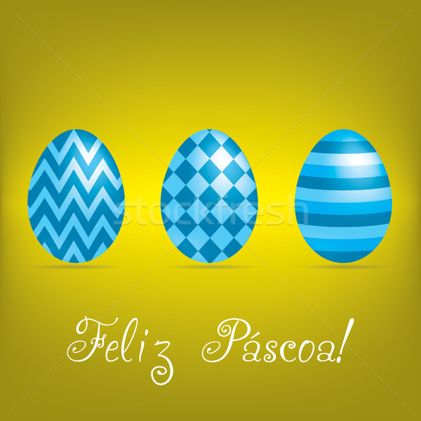 Portuguese 'Happy Easter' bright egg card in vector format. Stock photo © piccola