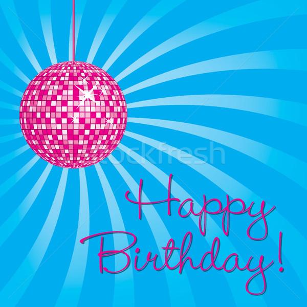 Roze disco ball gelukkige verjaardag kaart vector formaat Stockfoto © piccola