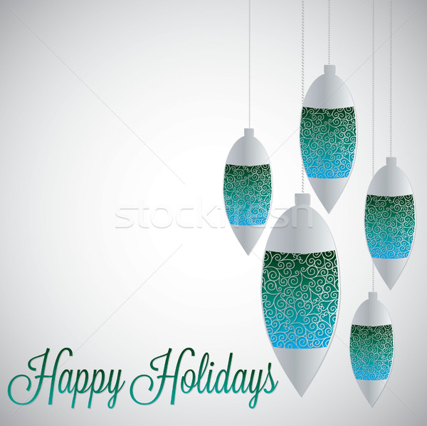 White filigree baubles with gradient in vector format. Stock photo © piccola