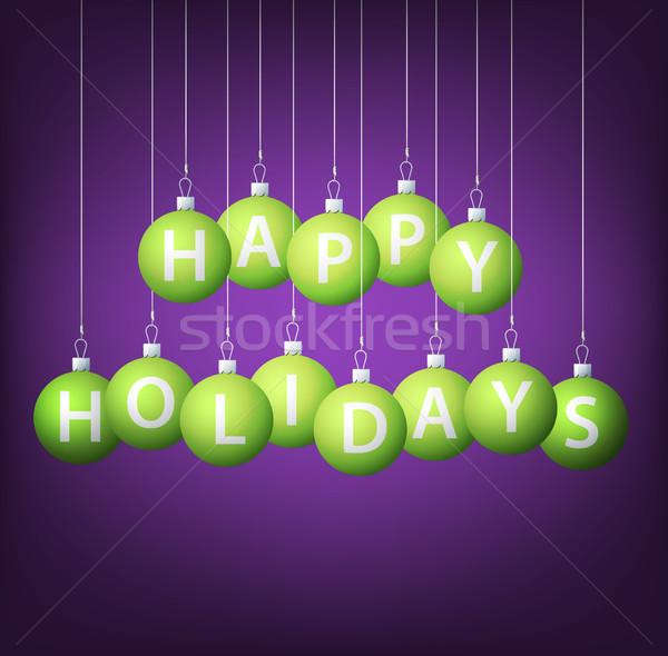 Glücklich Feiertage hängen Spielerei Karte Vektor Stock foto © piccola