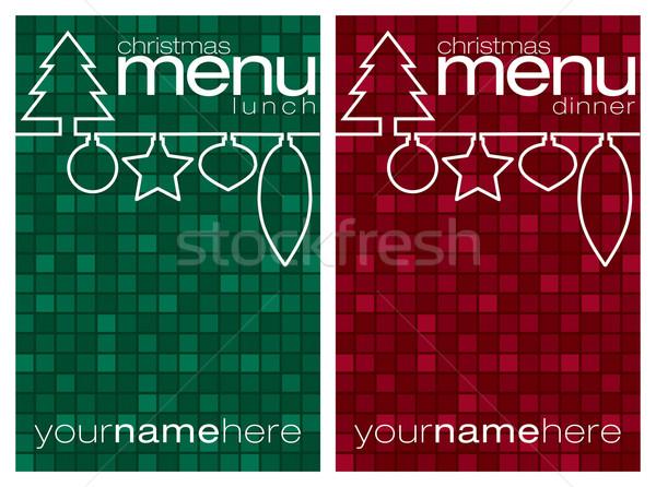 Czerwony zielone mozaiki line christmas obiad Zdjęcia stock © piccola