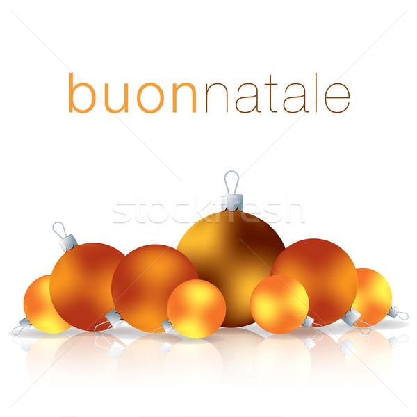İtalyan neşeli Noel önemsiz şey kart vektör Stok fotoğraf © piccola