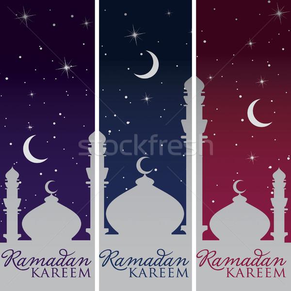 Ezüst mecset hold ramadán nagyvonalú bannerek Stock fotó © piccola