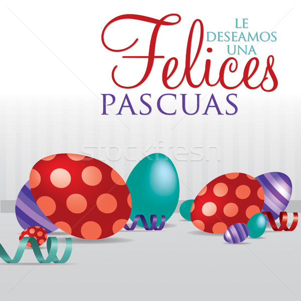 'Wishing you a Happy Easter' scattered egg cards in vector format. Stock photo © piccola