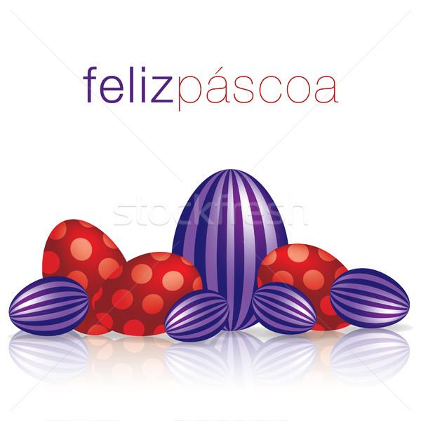 Stock fotó: Kellemes · húsvétot · tojás · tükröződés · kártya · vektor · formátum