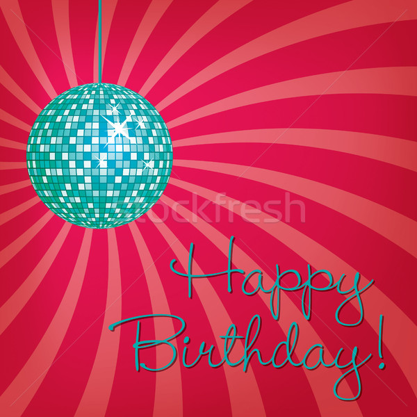 Bright disco ball Happy Birthday card in vector format. Stock photo © piccola