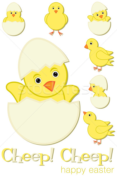 Cheep! Cheep! Happy Easter chick set in vector format. Stock photo © piccola