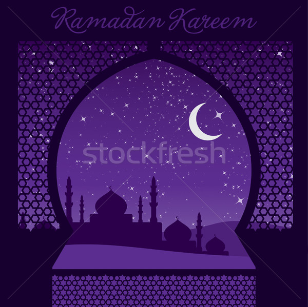 Venster ramadan genereus kaart vector formaat Stockfoto © piccola