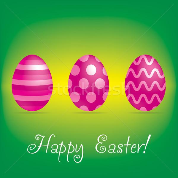 Iyi paskalyalar parlak yumurta kart vektör format Stok fotoğraf © piccola