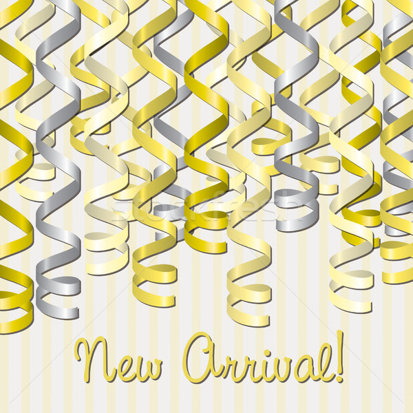 Curling ribbon inspired new arrival card in vector format. Stock photo © piccola
