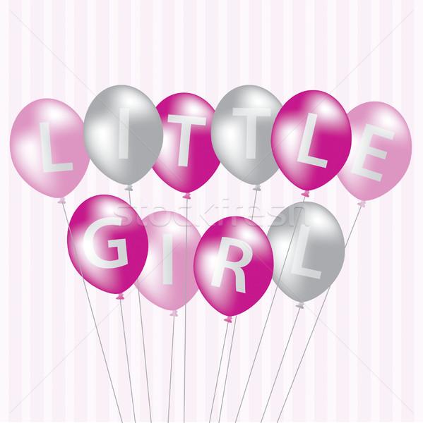 Nina rosa globo tarjeta vector formato Foto stock © piccola