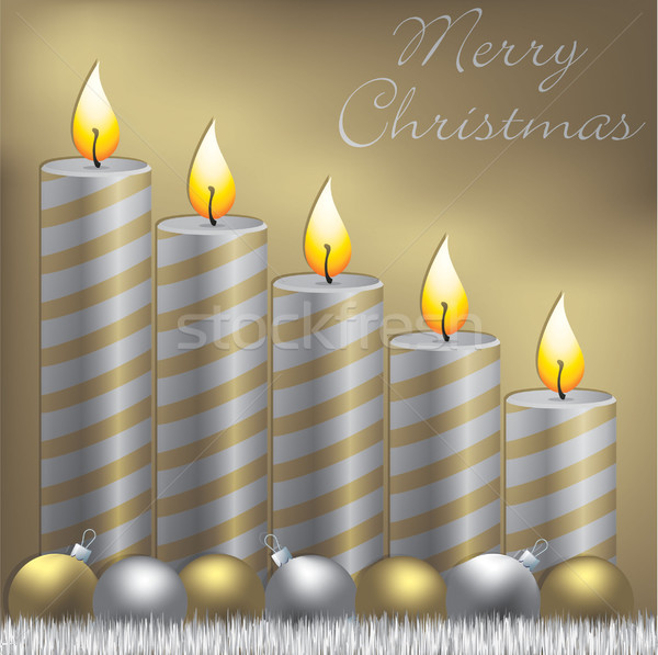 Merry Christmas candle, bauble and tinsel card in vector format. Stock photo © piccola