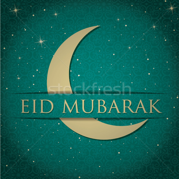 Gold crescent moon 'Eid Mubarak' (Blessed Eid) card in vector format. Stock photo © piccola