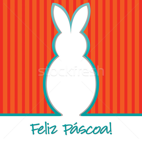Portuguese 'Happy Easter' bright bunny cut out card  Stock photo © piccola