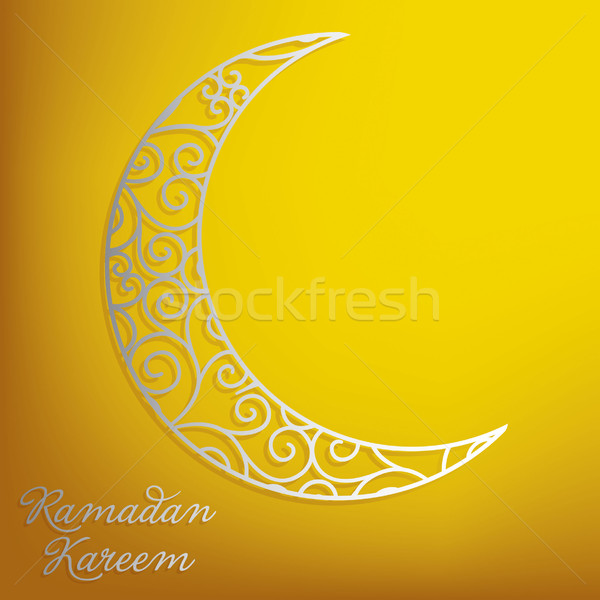Ramadan Kareem (Generous Ramadan) filigree moon card in vector. Stock photo © piccola