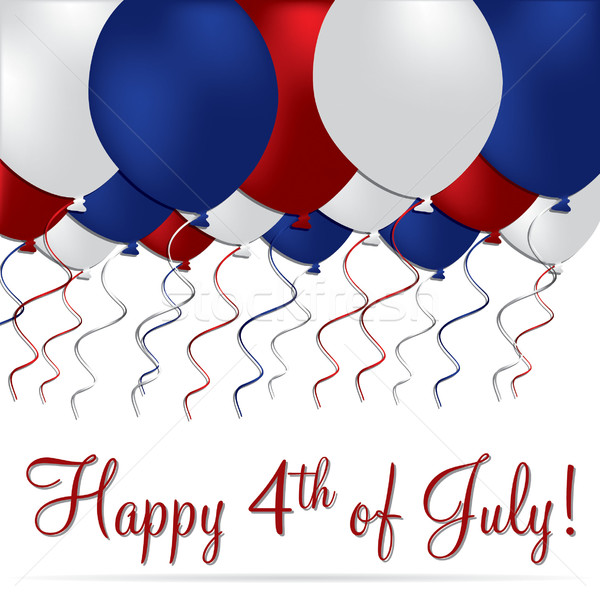 Happy 4th of July balloon card in vector format. Stock photo © piccola