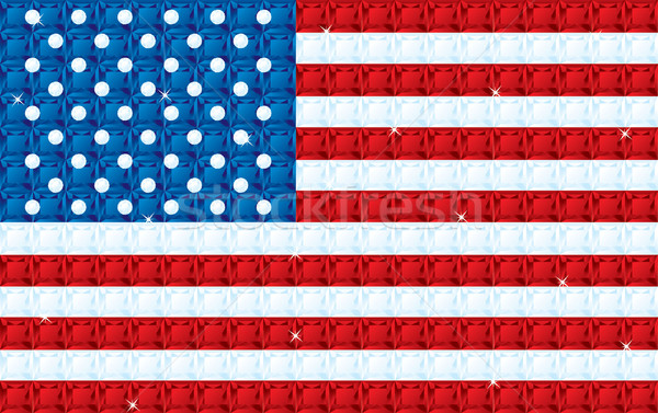 American Flag made from diamonds, sapphires and rubies in vector Stock photo © piccola
