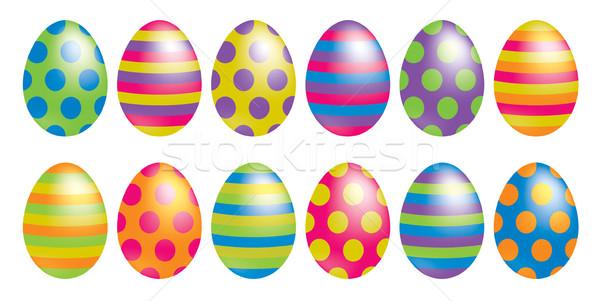 Fényes foltos csíkos húsvéti tojások vektor formátum Stock fotó © piccola