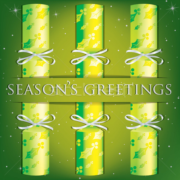Season s Greetings holly cracker card Stock photo © piccola