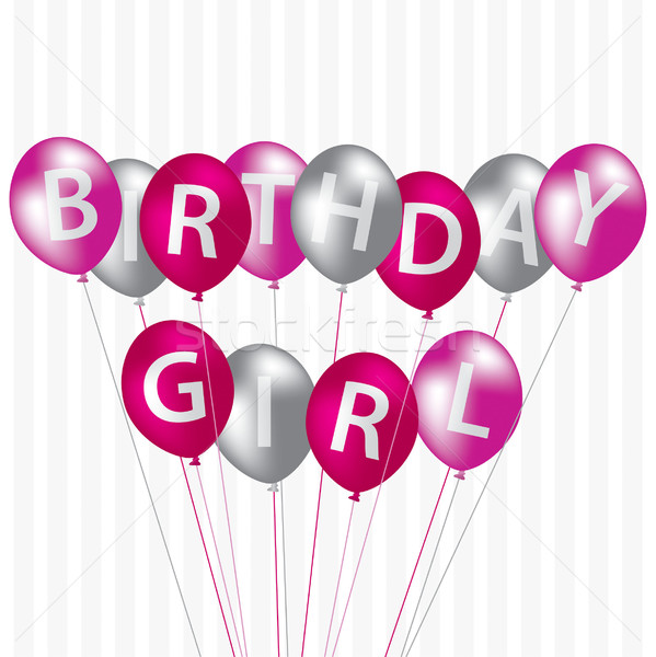 Birthday Girl pink balloon card in vector format. Stock photo © piccola