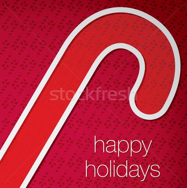 Stock fotó: Kivágás · boldog · ünnepek · cukorka · sétapálca · kártya