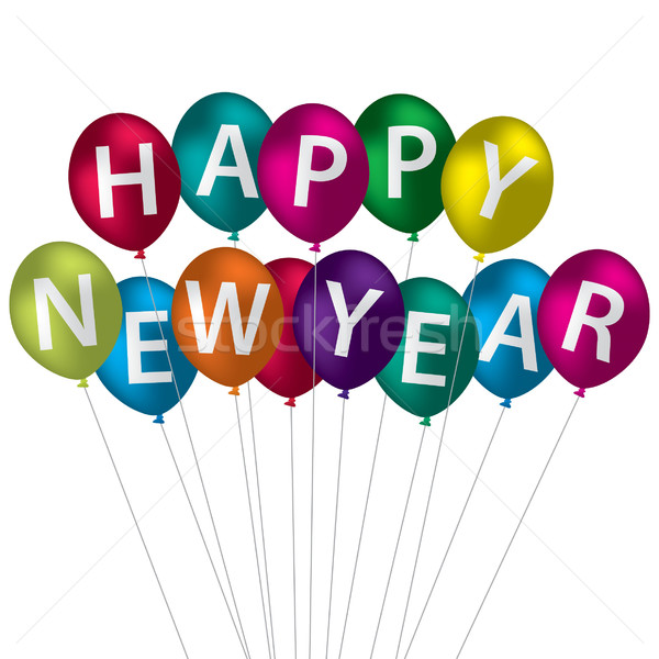 Happy New Year balloon card in vector format. Stock photo © piccola