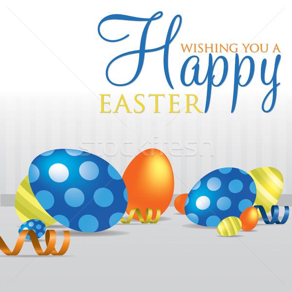 Kellemes húsvétot tojás kártya textúra tapéta minta Stock fotó © piccola