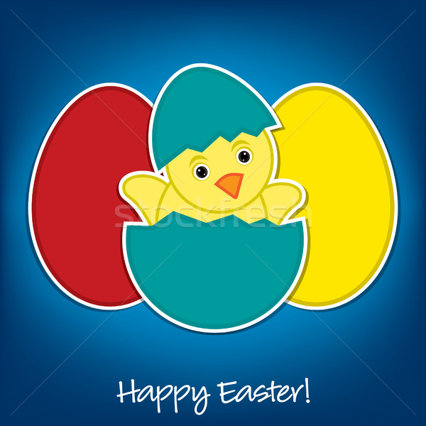 Baby Chick and eggs Easter card in vector format Stock photo © piccola